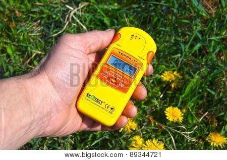 Near Kiev, Ukraine -April 29, 2015: Measuring radiation levels near after huge forest wildfire in Chernobyl Area on April 28. Kiev April 29,, 2015 Near Kiev, Ukraine.