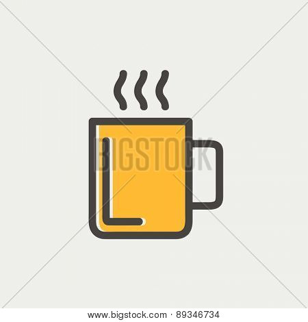 Mug of hot choco icon thin line for web and mobile, modern minimalistic flat design. Vector icon with dark grey outline and offset colour on light grey background.