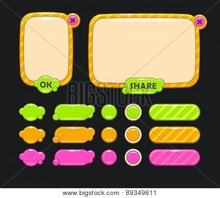 Cute vector user interface for web or game design including panels and buttons poster