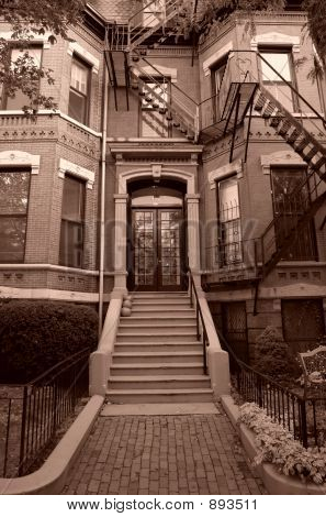 Sepia Toned Entry To Old Brownstone Boston