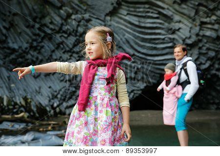 Family Enjoying Adventure In Golle Del Alcantara Gorge