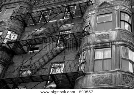 Ornate Rounded Bay Windows Black And White Two