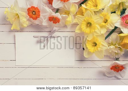 Border From Colorful Flowers And Empty Tag For Text