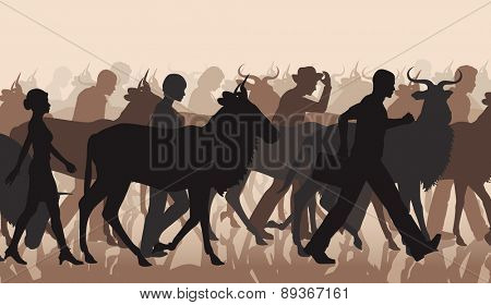 EPS8 editable vector cutout illustration of a mixed herd of wildebeest and people commuting or migrating
