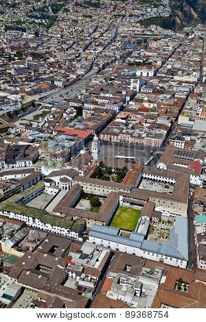 Quito, Ecuador - April 2014: Aerial view of colonial town of Quito Plaza and convent of Santo Domingo