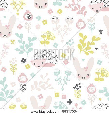 Seamless spring animals and blossom flower garden illustration kids background pattern in vector