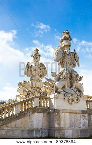 Statue of guardians at Gloriette in Schonbrunn palace, Vienna