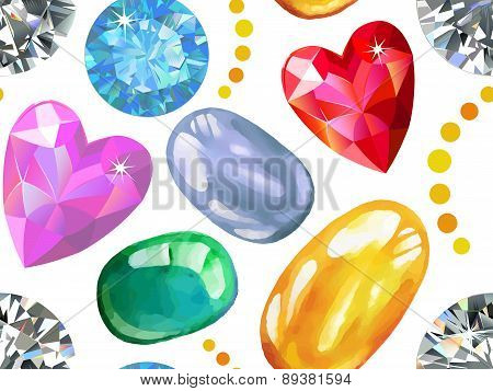 Seamless Texture Of Colored Gems Isolated On White Background