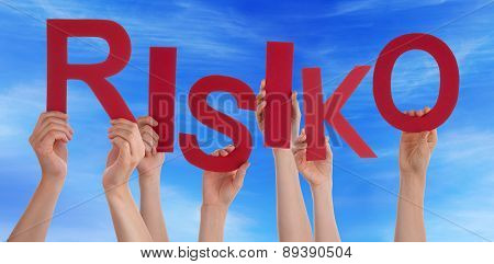 Many People Hands Holding Red Word Risk Blue Sky