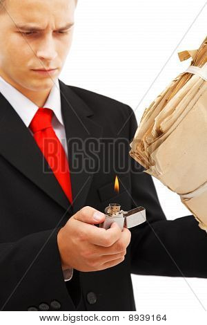 Young Man Burning File Folder