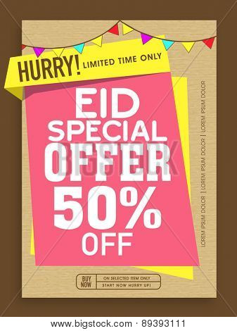 Special Offer Sale poster, banner or flyer decorated with colorful buntings on occasion of Islamic Festival, Eid celebration.