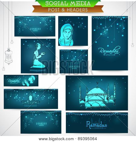 Shiny social media ads header or banner set with various Islamic elements for holy month of Muslim community, Ramadan Kareem celebration.