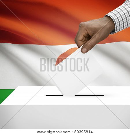 Ballot Box With National Flag On Background - Niger