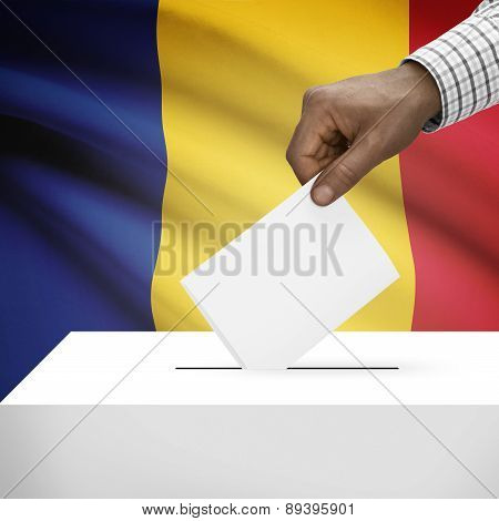 Ballot Box With National Flag On Background - Romania