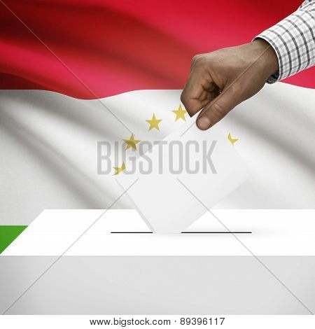 Ballot Box With National Flag On Background - Tajikistan