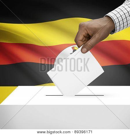 Ballot Box With National Flag On Background - Uganda