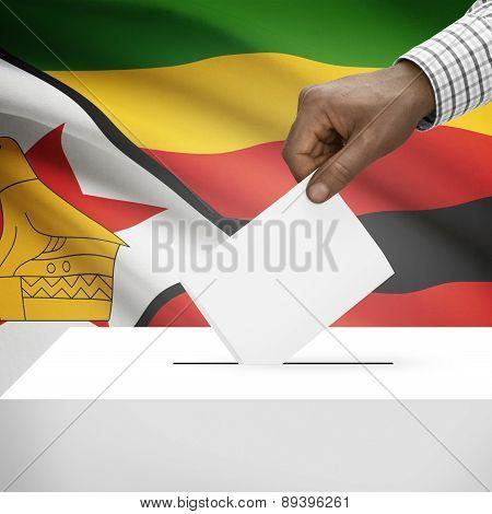 Ballot Box With National Flag On Background - Zimbabwe