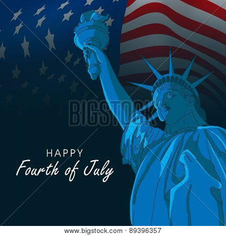 Happy Fourth of July, American Independence Day celebration with Statue of Liberty on waving national flag background.