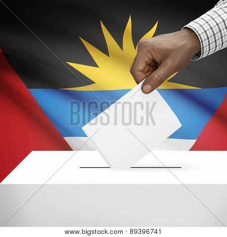 Ballot Box With National Flag On Background - Antigua And Barbuda