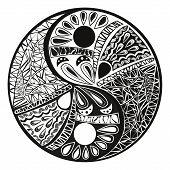 Yin yang symbol asian decoration element Pattern on white Background. Yin Yang tattoo for design Symbol vector illustration poster