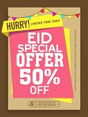 Special Offer Sale poster, banner or flyer decorated with colorful buntings on occasion of Islamic Festival, Eid celebration. poster
