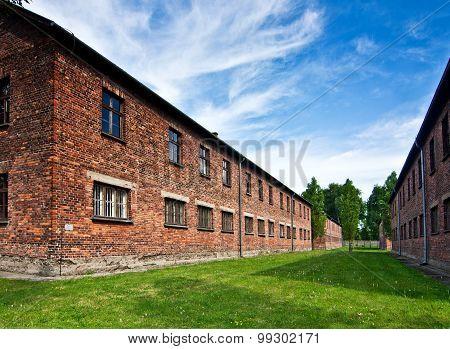 Brick Barracks In Auschwitz