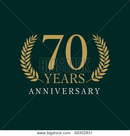 70 years old luxurious logo. Anniversary year of 70 th vector gold colored template framed of palms. Greetings ages celebrates. Celebrating tradition branches. 7 th place symbol of victory and success poster
