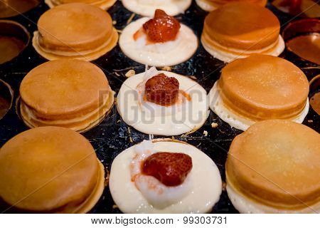 Oban-yaki With Strawberry And Milk Jelly Stuff, Japanese Traditional Sweet