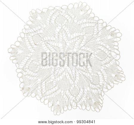 Crocheted white lace decorative napkin in closeup poster
