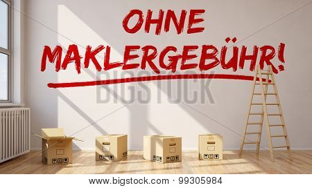 Room with German slogan