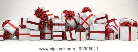 Panorama background with many white and red christmas gifts (3D Rendering)