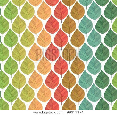Seamless pattern with stylized spring,summer and autumn leaves