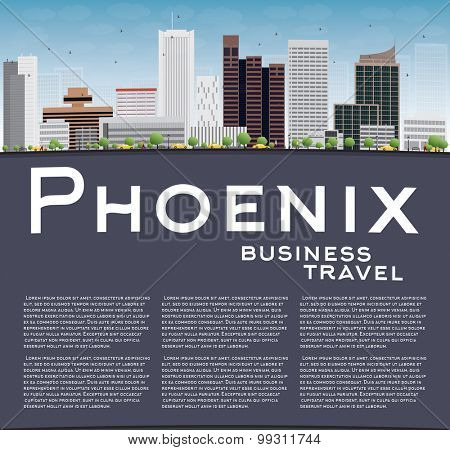 Phoenix Skyline with Grey Buildings, Blue Sky and copy space. Business travel concept. Vector Illustration poster