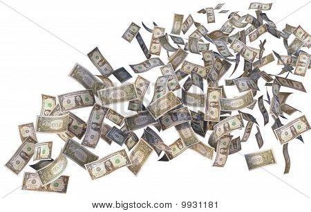 dollar bills flying over white background, rendered illustration