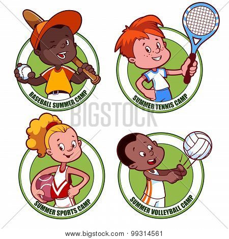 Logo For The Kids Sports Camp. Vector Illustration On White Background.