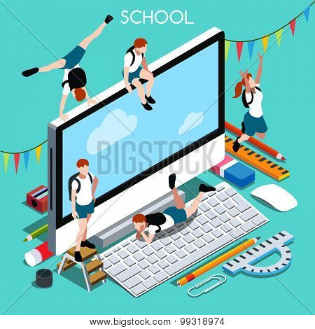 School Devices People Isometric