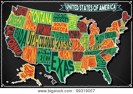 Usa Map Vintage Blackboard