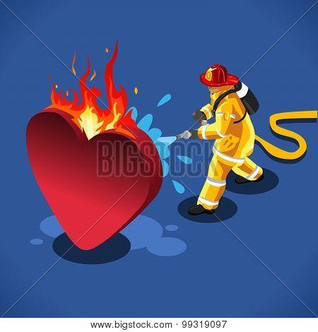 Sick Heart Concept Isometric