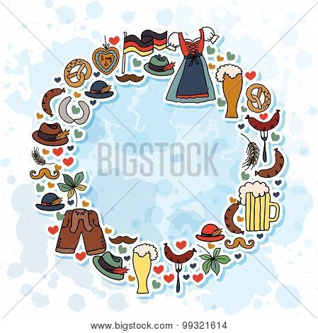 Vector Illustration Of Oktoberfest Elements Set