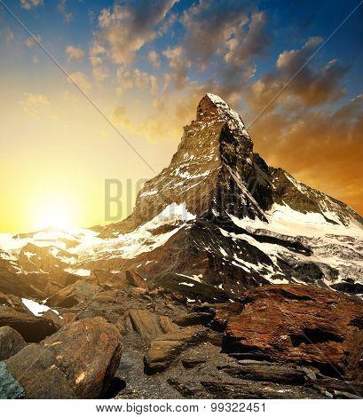 Matterhorn in the sunset - Pennine alps, Switzerland.