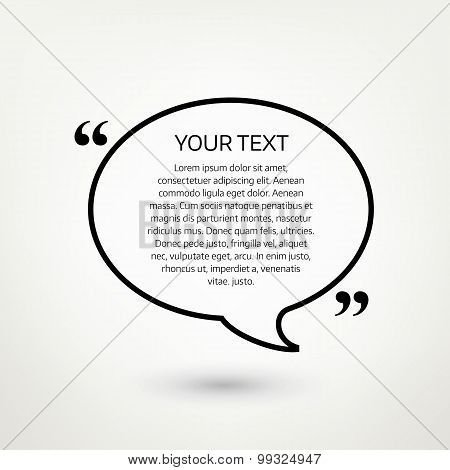 Oval quote text bubble. Vector