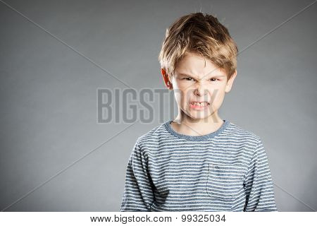 Portrait Of Boy, Emotion, Angry, Grey Background