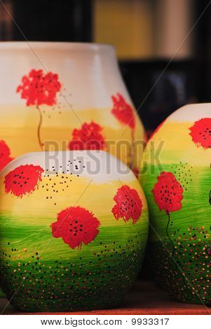 Pottery Detail With Flowers