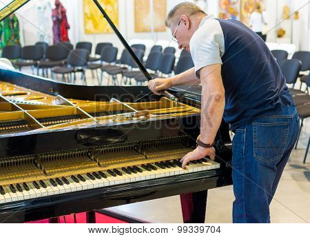 Professional Piano Tuner At Work