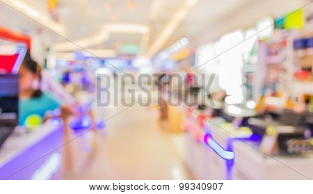 Blur Image Of Eletronic Department Store For Background Usage