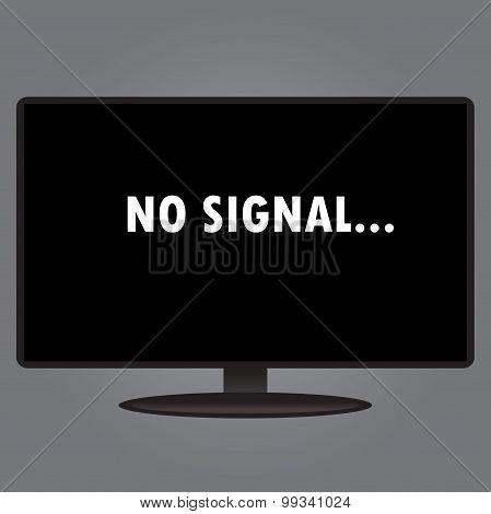 Inscription On The Tv Screen - No Signal, Flat Design