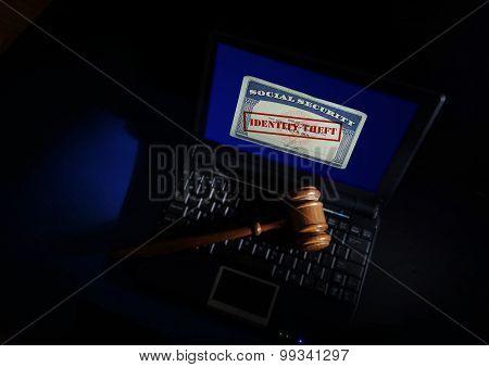 Gavel On Identity Theft Card