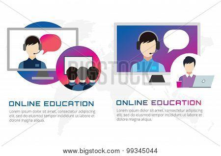 Online education vector illustration. Webinar, school