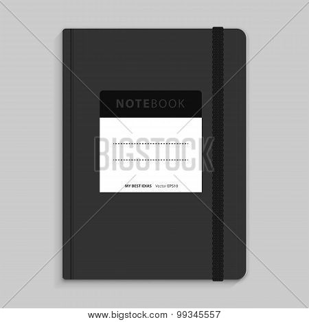 Moleskin Notebook With Black Elastic Band Vector Image.