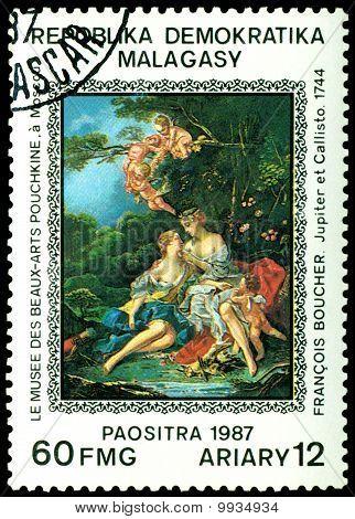 Vintage  Postage Stamp.  Francois Bousher. Jupiter And Callisto.